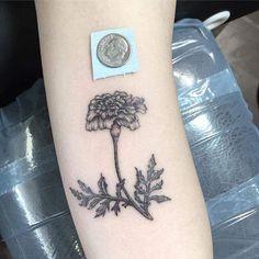 My first tattoo: Marigold done by Jeana Jane @ Traditional Tattoo, San Luis Obispo, CA Piercing Tattoo, Botanisches Tattoo, Ankle Tattoo, Piercings, Hand Tattoos, Love Tattoos, Black Tattoos, Awesome Tattoos, Marigold Tattoo