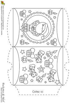 Dessin à colorier d'une pochette de Noël, avec le père Noël et des cadeaux - Hugolescargot.com