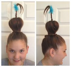 Seussical the Musical hair Whoville Who Crazy hair day -make a ponytail on top of head -pull ponytail through a toilet paper roll with a wire taped to the inside of it. - pin hair over roll and at the base, all except one piece to braid up the wire and rubber band at the top. -pin loose strands around the base of the roll.