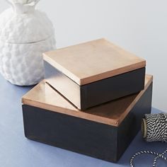 We just love the simplicity of these black painted wooden boxes with copper lids. - A House Doctor DK product - Copper leaf lid and wood - Set of Painted Wooden Boxes, Wooden Gift Boxes, Wood Boxes, Decorative Accessories, Home Accessories, Decorative Boxes, Wooden Box Designs, Stationary Box, Box Wedding Invitations
