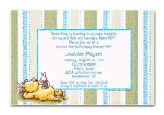 classic blue baby shower invitations, classic pooh gazing birthday party invitations for boys 1st Birthday Party Invitations, Disney Invitations, 1st Birthday Parties, Baby Shower Invitations, Announcement Cards, Birth Announcements, Having A Baby Boy, Pooh Bear, Rainbow Baby