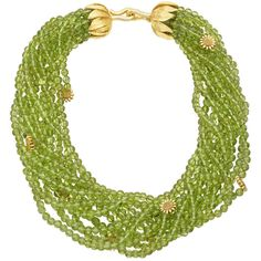 Bielka Peridot Bead  Gold Sunflower Necklace | From a unique collection of vintage beaded necklaces at http://www.1stdibs.com/jewelry/necklaces/beaded-necklaces/