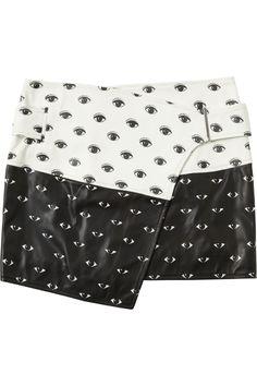 KENZO|Eye-print leather mini skirt|NET-A-PORTER.COM