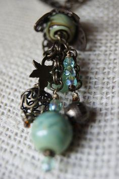Mssy Crow Sea Green Necklace by MessyCrow on Etsy, $30.00