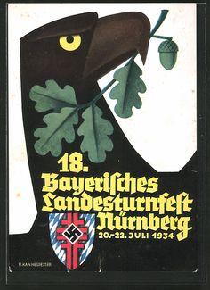 old postcard: Künstler-AK Nürnberg, 18. Bayer. Landesturnfest u. Dt. Kampfspiele 1934, Adler, Wappen mit Hakenkreuz