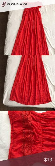 Strapless maxi dress Strapless red orange maxi dress. Never been worn. Dresses Maxi