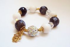 Dark Grey & White Agate Bracelet Hamsa Gemstone by GioArte on Etsy, $38.99