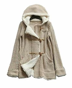 Ox Horn Buttons Hooded Sweater Coat