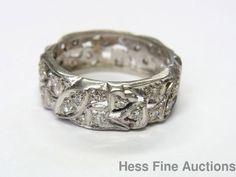 Ultra Wide Vintage Platinum Fine Diamond Floral Heart Vine Motif Band Ring 6.5 #Band