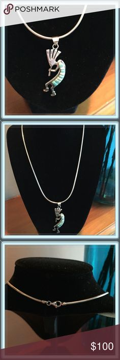 Kokopelli Turquoise Necklace Beautiful sterling silver necklace with a Kokopelli piece. Authentic!  The meaning, varies as much as the legends about him, but he is generally depicted as a hunch-back. He was also said to have traded beads & shells for pieces of turquoise. This necklace was purchased in Arizona! Price is firm!  No Trades Kokopelli Jewelry Necklaces