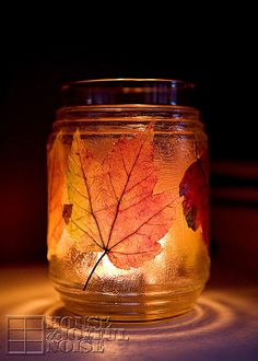 Preserving Autumn Leaves / Door Garland and Leaves Candle Jar   crafts, Autumn-crafts, Fall-crafts, Thanksgiving-decor, Fall-decor, Modge-Podge-projects  www.houseofjoyfulnoise.com