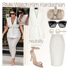 """Style Watch:Kim Kardashian"" by nfabjoy ❤ liked on Polyvore featuring River Island, Alexander McQueen, Yves Saint Laurent, Manolo Blahnik, Honora, paris, neutrals, sunnies, kimkardashian and CelebrityStyle"