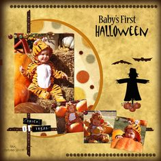 Muliti Photos LO Main Vertical Photo - Baby's First Halloween babys 1st scrapbook layouts, pumpkin, circl, scrapbook idea, scrapbooking halloween layouts