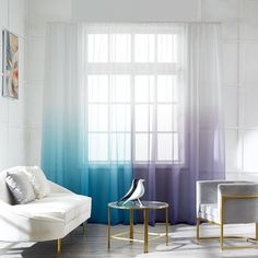 Ombre Aqua Blue And Purple Gray Dip Dye Sheer Curtains Semi Elegant Drapes Dip Dye Curtains, Turquoise Curtains, Ombre Curtains, Sheer Curtains, Aqua Blue Rooms, Blue Gray Bedroom, Purple Bedrooms, Girls Bedroom, Thermal Drapes