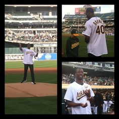 #Warriors Forward Harrison Barnes throws out the first at the #Athletics vs. #Yankees game.
