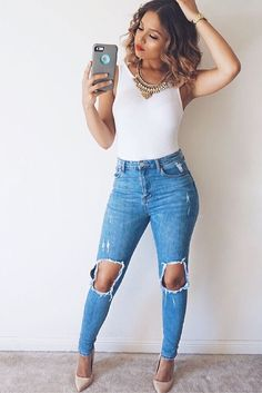 34 ideas for party outfit night forever 21 Date Outfits, Jean Outfits, Casual Outfits, Summer Outfits, Body Suit Outfits, Dinner Outfits, Denim Forever 21, Forever 21 Outfits, Looks Jeans