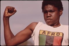 """criticalmera: """"John H. White - A Young Black Man Showing His Muscle During A Small Community Program In Chicago On The South Side, August 1973 """" South Side Chicago, Chicago Magazine, Young Black, African American History, Photojournalism, Image Shows, Beautiful Images, Beautiful People, Black History"""