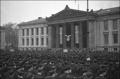 Members of Hirden, the uniformed branch of the Norwegian nazi party, mustering at Univeritetsplassen (University Square) Oslo, Nov. 2nd, 1942.