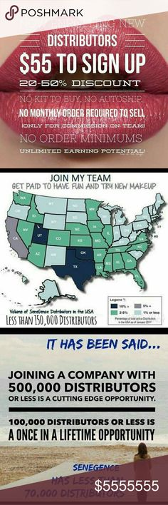 👄👄Join Me!! stop eating Lipstick STOP EATING YOUR LIPSTICK!   STOP WORRYING ABOUT WHAT POCKET YOU NEED TO CARRY THIS DREADFUL STUFF!  PUT IT ON 1 TIME!!  BE SEXY ALL DAY!  I coach several distributors from all over!  Join me  I love what I do!!   Distributor #319339  Www.senegence.com   Email: Lipmob101@hotmail.com  WHO CAN START A BUSINESS FOR $55!!  Work from home!  Follow me on Facebook@LipMob101 Makeup