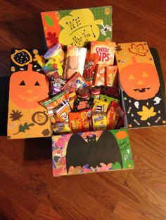 Fall/Halloween Care package for college kids. Made this for my son. He & his friends love getting them. & They are super fun to make.