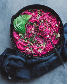 Vegan Beet Alfredo with Lemon-Basil Ricotta - was delicious! and a pain in the butt. But delicious. Creamy Avocado Pasta, Raw Food Recipes, Healthy Recipes, Lemon Basil, Pink Foods, Rainbow Food, Roasted Beets, Vegan Dinners, Vegan Vegetarian