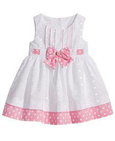 Image 1 of Bonnie Baby Eyelet & Dot-Print Dress, Baby Girls Girls Frock Design, Baby Dress Design, Baby Girl Dress Patterns, Toddler Girl Dresses, Little Girl Dresses, Girls Dresses, Baby Frocks Designs, Kids Frocks Design, Girl Doll Clothes