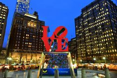 LOVE Statue and holiday tree during Christmas Village in Philadelphia