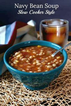 This is a delicious and filling Navy Bean Soup slow cooker style and is easy comfort food. A perfect dinner filled with a great combination of ingredients. Navy Bean Recipes, Bean Soup Recipes, Lentil Recipes, Vegan Slow Cooker, Slow Cooker Soup, Vegan Crockpot Recipes, Slow Cooker Recipes, Vegetarian Recipes, Instant Pot
