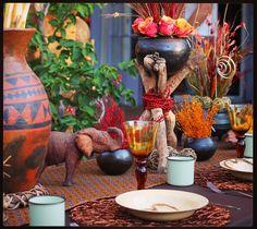Traditional african wedding decor. Zulu wedding. Traditional wedding ideas. African wedding centerpieces. Shweshwe prints. www.secundatents.com