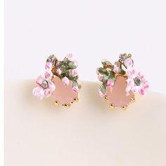 Luxury fashion Women earring jewelry lovely cherry blossom gem earrings