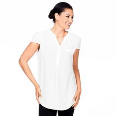 High-Low Capped Sleeve Top in White