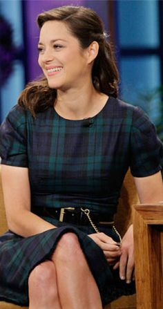 Beautiful Marion Cotillard wearing a Black Watch Tartan dress on The Tonight Show.  Nov 2, 2012