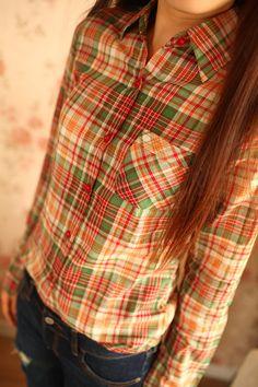 Big mouth Xia Xia checkered shirt star with high-end womens Plaid Shirt shirt