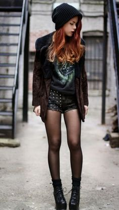 Grunge outfits · what an awsome edgy style for fallshorts + tights + blazer + Grunge Outfits, Hipster Outfits, Edgy Outfits, Cool Outfits, Fashion Outfits, Fashion Trends, Bad Girl Outfits, Fashion Ideas, Edgy Style