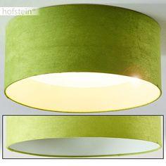 Runde LED Deckenleuchte Niagara braun Deckenlampe mit Stoffschirm Durchmesser 31 cm 1.200 Lumen 3.000 Kelvin … (Grün)