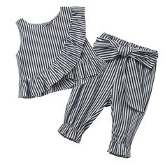 2018 Fashion Baby Girl Clothes Set Girl's 2pcs Striped Ruff Cotton Summer Sleeveless Shirt + Pants