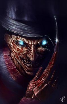 Freddy Krueger-A Nightmare On Elm Street. Slasher Movies, Horror Movie Characters, Horror Movies, Freddy Krueger, Robert Englund, Horror Artwork, Horror Icons, Arte Horror, Nightmare On Elm Street