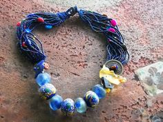 African Trade Bead Necklace - Handcrafted Artisan Jewelry on Ruby Lane