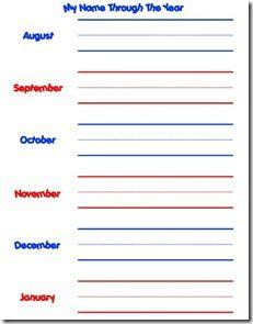 """My Name Through the Year"" Handwriting Practice.  Nice to show progress"