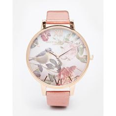 Olivia Burton Wondland Floral Face Leather Strap Oversize Dial Watch ($120) ❤ liked on Polyvore featuring jewelry, watches, pink, pink watches, gold plated watches, floral jewelry, olivia burton and slim watches