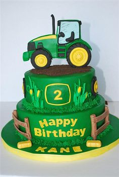 John Deere Theme cake in 2019 . Jul Fondant tractor in for cake topper. Tractor Birthday Cakes, Farm Birthday, 2nd Birthday Parties, Tractor Cakes, Birthday Ideas, Tractor Cupcake Cake, Birthday Cake Kids Boys, Cupcakes, Cupcake Cakes