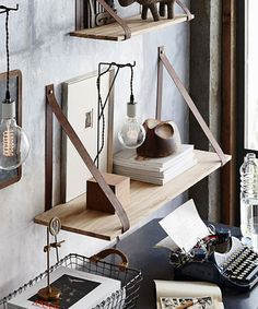 "Leather Strap Shelf - 39.25"""