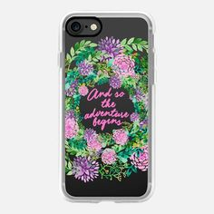 And so the adventure begins floral watercolor pinks - Classic Grip Case