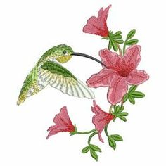 Hummingbirds & Flowers 01(Md) machine embroidery designs