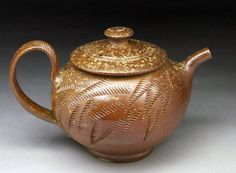 Woodfired Teapot with Textured Design by jeffbrownpottery on Etsy