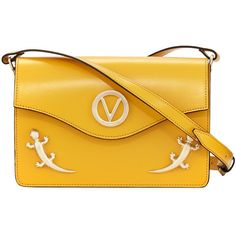 Valentino By Mario Valentino Jade Flap Lizard Shoulder Bag (21.725 RUB) ❤ liked on Polyvore featuring bags, handbags, shoulder bags, yellow, lizard handbag, yellow shoulder bag, shoulder bag purse, snap closure purse and shoulder bag handbag