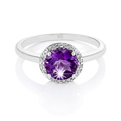 Female : 9ct White Gold Amethyst and Diamond Ring