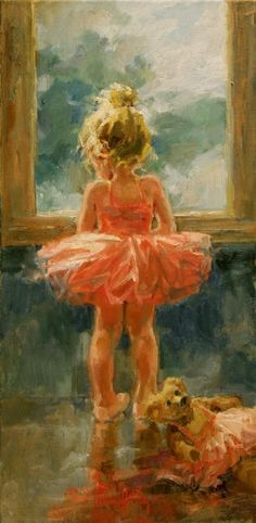 Corrinne Hartley The painting shows a little girl in her ballet attire looking outside a window with a teddy bear dressed the same behind her. Tone has been used in the painting but there are obvious colours such as Pink, Yellow, brown, Orange and blue