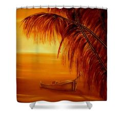 Shower Curtain,  bathroom,accessories,unique,fancy,cool,trendy,artistic,awesome,beautiful,modern,home,decor,design,for,sale,unusual,items,products,ideas,orange,brown,tropical,sunset,palmtrees,coastal,sea