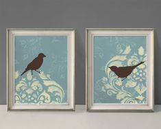 Shabby Bird Prints, French Country Wall Decor, Large Print Set, 11 x 14 inches Each. $48.00, via Etsy.